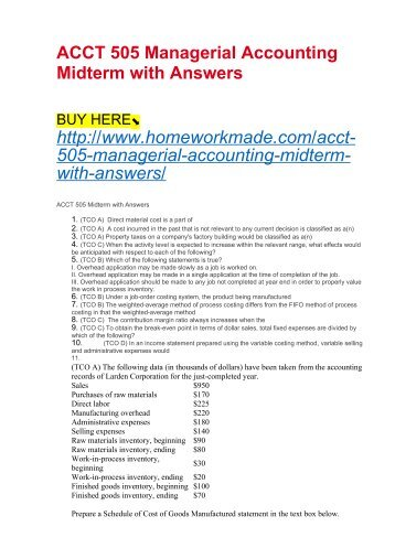 ACCT 505 Managerial Accounting Midterm with Answers