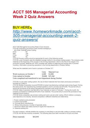 Acct 505 quiz 2 week 6 solutions