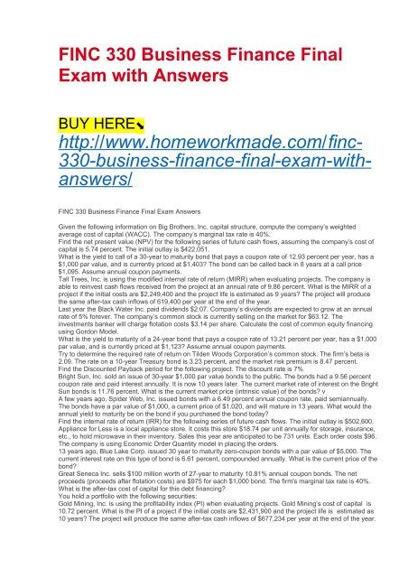 FINC 330 Business Finance Final Exam with Answers