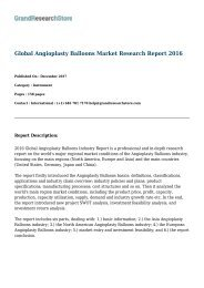 Global Angioplasty Balloons Market Research Report 2016