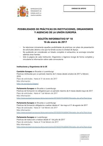 BOLETÍN INFORMATIVO Nº 10 16 de enero de 2017