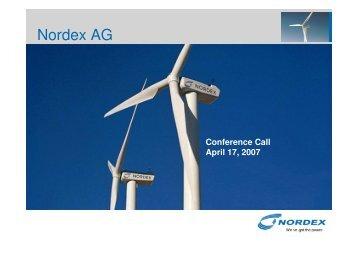 Analyst Presentation, 4-17-2007 - Nordex