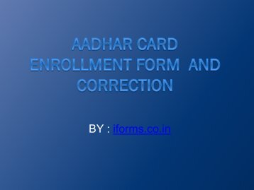 Aadhar Card   Enrollment Form  and Correction