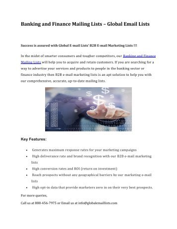 Banking and Finance Mailing Lists-Global Email Lists