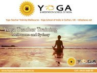 Yoga Teacher Training Melbourne - Yoga School of India in Carlton, VIC - Infoplaces.net