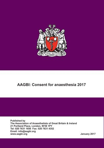 AAGBI Consent for anaesthesia 2017