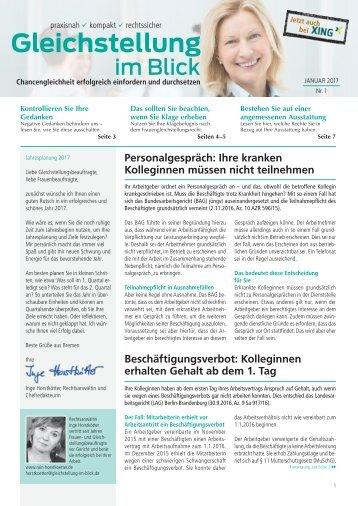 Gleichstellung im Blick, Ausgabe 01/2017