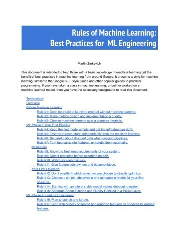 Rules of Machine Learning Best Practices for ML Engineering