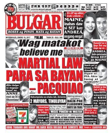 January 18, 2017 BULGAR: BOSES NG PINOY, MATA NG BAYAN