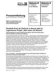 Pressemitteilung - Diakonisches Werk Hessen-Nassau