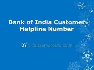 Bank of India Customer Helpline Number