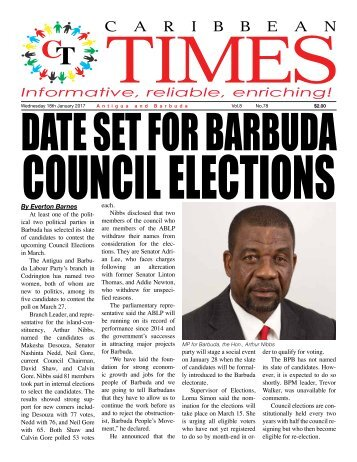 Caribbean Times 78th Issue - Wednesday 18th January 2017