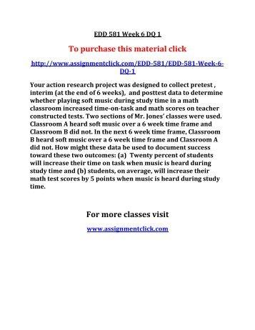 UOP EDD 581 Week 6 DQ 1