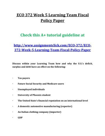 Eco 372 week 5 fiscal policy