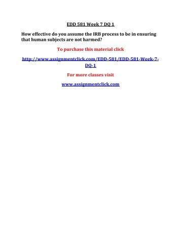 UOP EDD 581 Week 7 DQ 1
