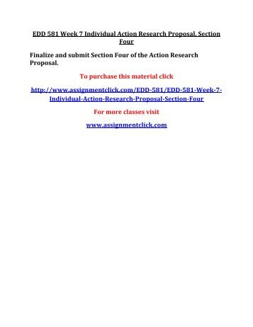 UOP EDD 581 Week 7 Individual Action Research Proposal