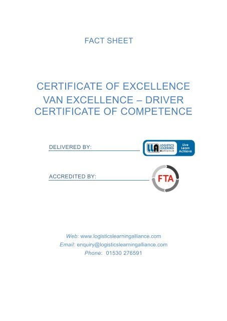 FTA Certificate of Excellence - Van Excellence - Driver Certificate of Competence