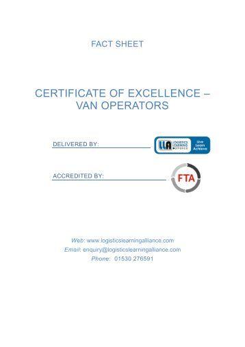 FTA Certificate of Excellence - Van Operators