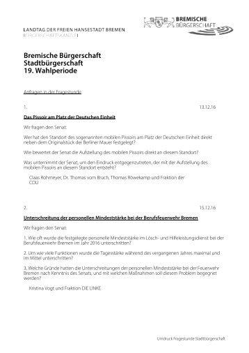 Bremische Bürgerschaft Stadtbürgerschaft 19 Wahlperiode