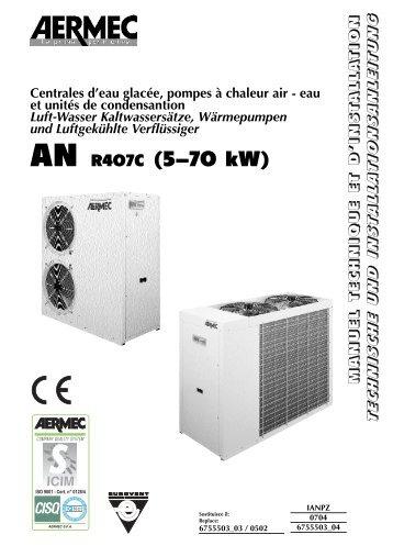 Centrales d'eau glacée, pompes à chaleur air