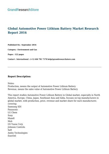 Global Automotive Power Lithium Battery Market Research Report 2016