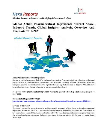 Global Active Pharmaceutical Ingredients Market Share, Industry Trends And Outlook 2017-2021: Hexa Reports