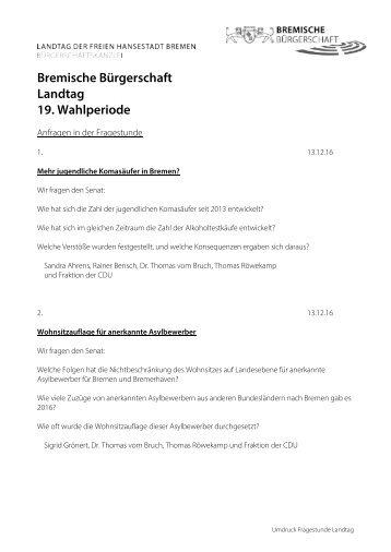 Bremische Bürgerschaft Landtag 19 Wahlperiode