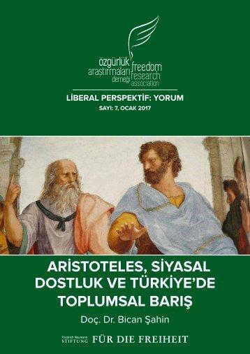 ARİSTOTELES SİYASAL DOSTLUK VE TÜRKİYE'DE TOPLUMSAL BARIŞ