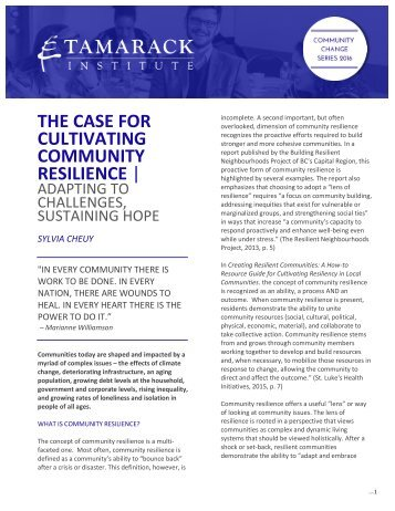 THE CASE FOR CULTIVATING COMMUNITY RESILIENCE |