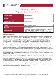 Infrastructure Australia Project Business Case Evaluation