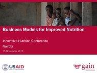 Business Models for Improved Nutrition