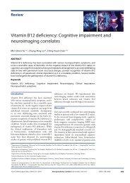 Vitamin B12 deficiency Cognitive impairment and neuroimaging correlates