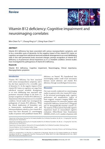 Vitamin B12 deficiency Cognitive impairment and neuroimaging correlates