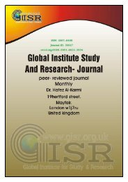 Global Institute for the Study and Research Journal (GISR-J) Vol: 2. No: 2.