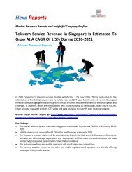 Telecom Service Revenue In Singapore Is Estimated To Grow At A CAGR Of 1.5% During 2016-2021