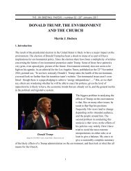 DONALD TRUMP THE ENVIRONMENT AND THE CHURCH