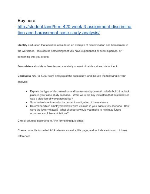 HRM 420 Week 3 Assignment Discrimination and Harassment Case Study