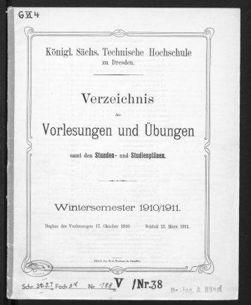Verzeichnis der Vorlesungen und Übungen samt den Stunden- und Studienpänen Wintersemester 1910/11