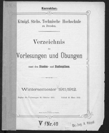 Verzeichnis der Vorlesungen und Übungen samt den Stunden- und Studienplänen Wintersemester 1911/12