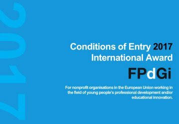 Conditions of Entry 2017 International Award