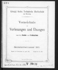 Verzeichnis der Vorlesungen und Übungen samt den Stunden- und Studienpänen Sommersemester 1911