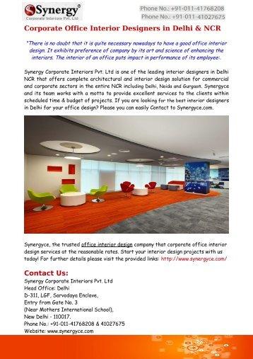Office Interior Designers Company in Delhi & NCR