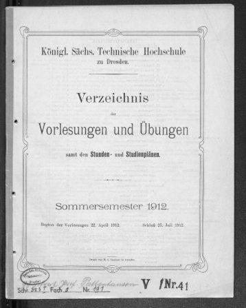 Verzeichnis der Vorlesungen und Übungen samt den Stunden- und Studienplänen Sommersemester 1912