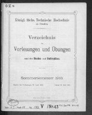 Verzeichnis der Vorlesungen und Übungen samt den Stunden- und Studienplänen Sommersemester 1913