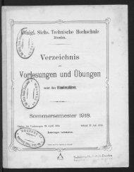 Verzeichnis der Vorlesungen und Übungen samt Stundenplänen Sommersemester 1918