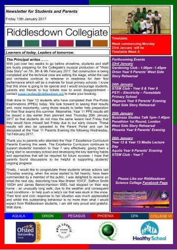 Newsletter for Students and Parents