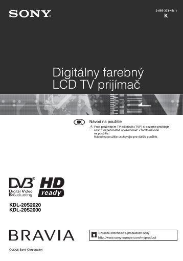Sony KDL-20S2020 - KDL-20S2020 Istruzioni per l'uso Slovacco