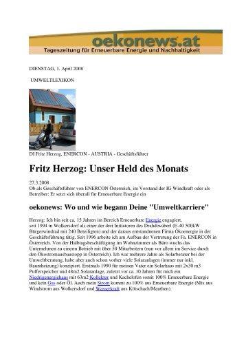 Fritz Herzog: Unser Held des Monats - Ö K O ENERGIE
