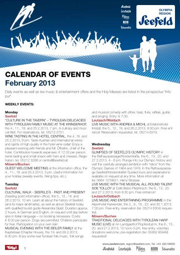 Calendar of events February 2013