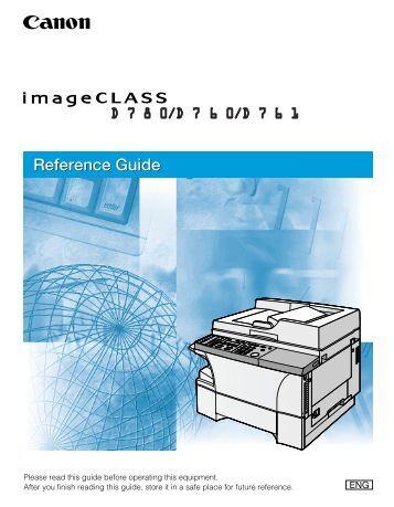 Canon imageCLASS D761 - imageCLASS D780/D760/D761 Reference Guide